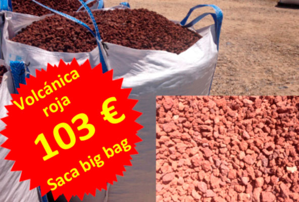 Big bag piedra volc nica roja pvpweb cesped natural madrid for Jardines con piedra volcanica