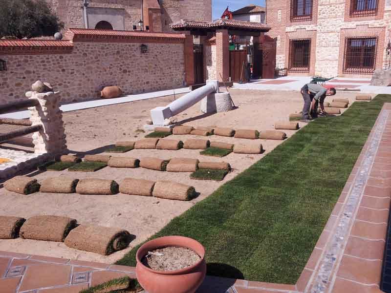 Instalación de tepe para jardin