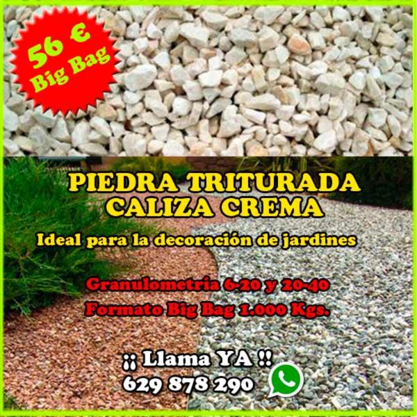 Big Bag de piedra natural decorativa para jardines caliza color crema. Viveros Coronado en Navalcarnero, Madrid.
