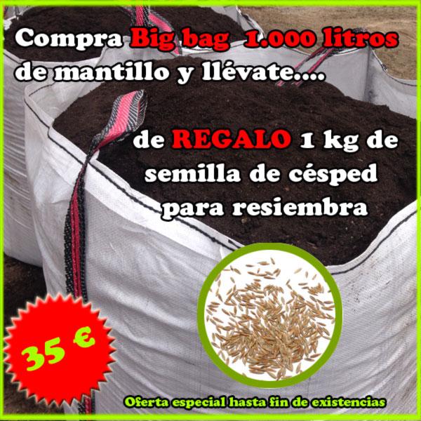Saca big bag 1000 litros de mantillo y regalo 1 kg de semilla de césped de resiembra