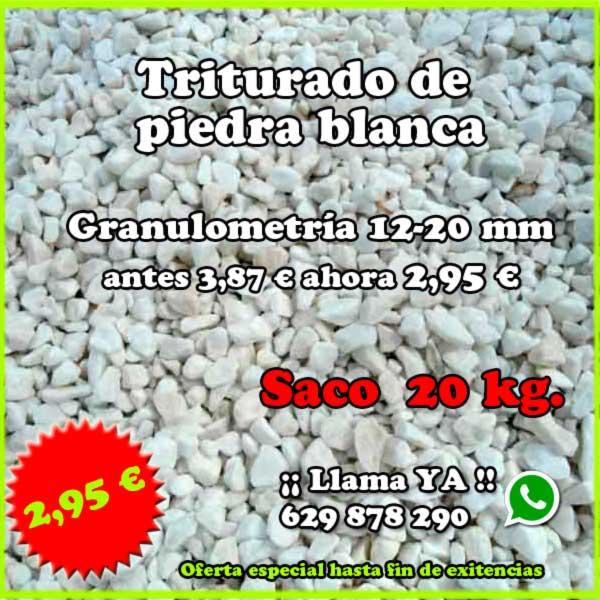 Oferta piedra blanca triturada saco 20 Kg. Viveros Coronado