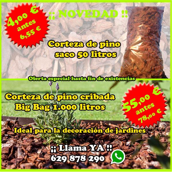 Oferta corteza de pino saca 1000 y 50 litros