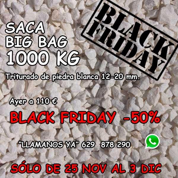 Black Friday piedra triturada blanca. Viveros Coronado en Navalcarnero