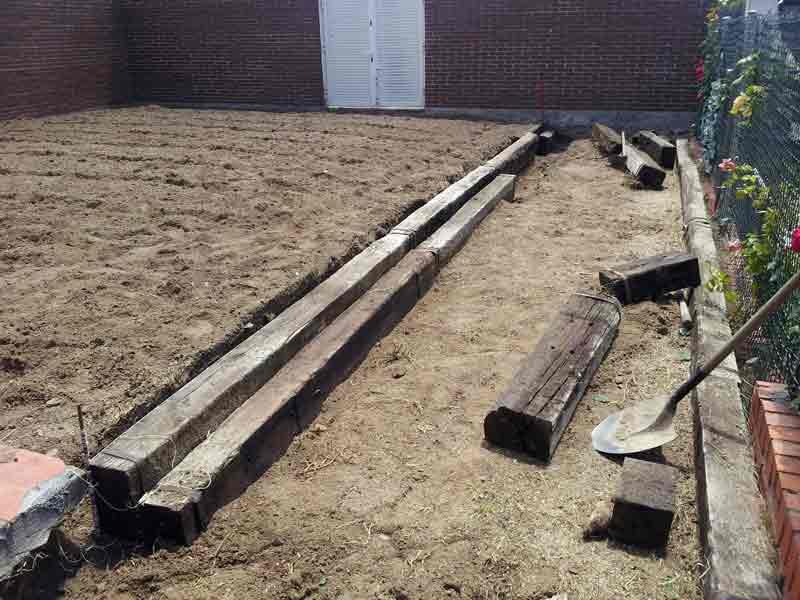 Replanteo del lugar de colocación del tepe